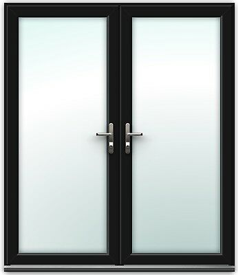 Black uPVC French Doors - BRASS handles, GOLD spacer bars   Made to Measure