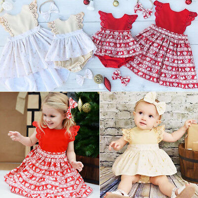 Christmas Baby Girls Toodler Kids Xmas Lace Romper Dress Party Dresses Gift