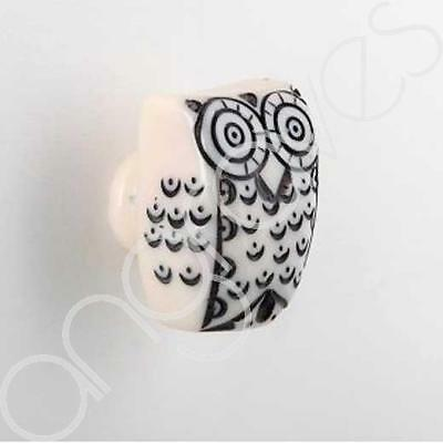 Set of 4 Painted Black and White Owl Drawer Knobs Home Decor Animal Cabinet Hand