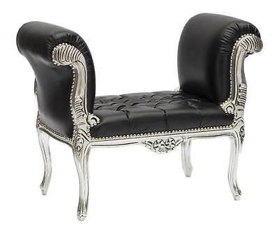 Bench bench Wood Leaf Silver Style Louis Xv Eco-leather BLACK