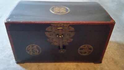 Vintage Oriental Wood Trunk Chest with Brass Lock and Handles