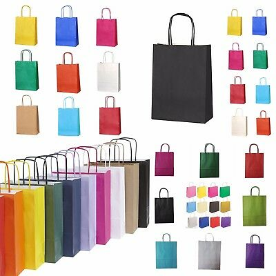 10 COLOURED TWISTED HANDLE KRAFT PAPER CARRIER BAGS, Free & Fast Shipping