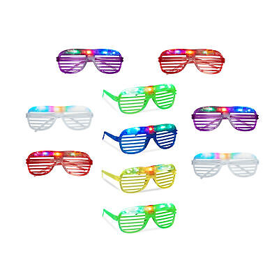 10er Set Partybrillen Brille mit LED für Kinder Gitterbrille Spassbrillen Party