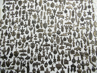 500 MILAGROS, old silver color (black), mexican folk art wholesale lot, 1 pound
