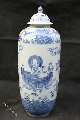 41cm Chinese Blue and White Porcelain Handmade Rohan Monk Man Pot Jar Jug Cans
