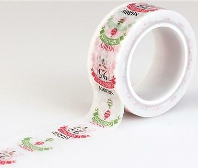 Carta Bella Christmas WORDS Decorative Tape 15 Feet Echo Park Washi Scrapbook