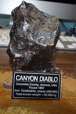 796 gm . CANYON DIABLO IRON NICKEL METEORITE ; TOP GRADE W/ STAND AND LABEL;