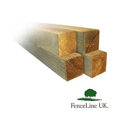 Pack of 4 8ft 2.4m 4'' x 4'' 100mm x 100mm Fence/Gate Posts - Wooden - Treated