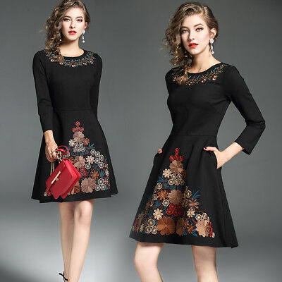 2017 Autumn women's new style fashion temperament embroidery Ball Gown Dress
