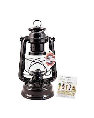 """Feuerhand Hurricane Lantern - German Made Oil Lamp - 10"""" with Care Pack (Black)"""