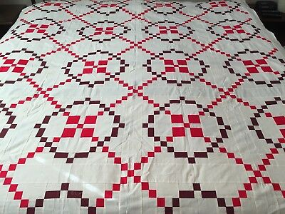 "Vintage Antique Quilt Top Red Burgoyne Surrounded 93"" x 75"""