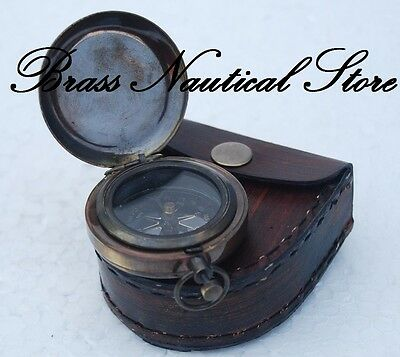 Heavy Solid Brass Vintage Good Quality Rose London Push Button Pocket Compass#