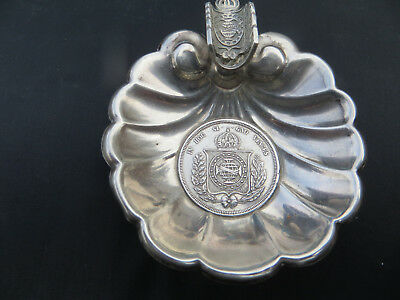 Antique Sterling Silver .950 Brazil 500 Reis 1854 Coin Set Ashtray 21g