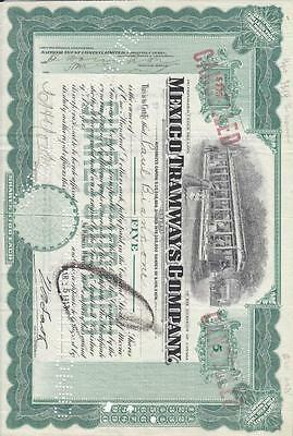 Stock Cert.: Mexico Tramways Co., 1919, Punch Cancel (S11098)
