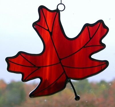 Stained Glass Special Amber Red Maple Leaf Sun Catcher