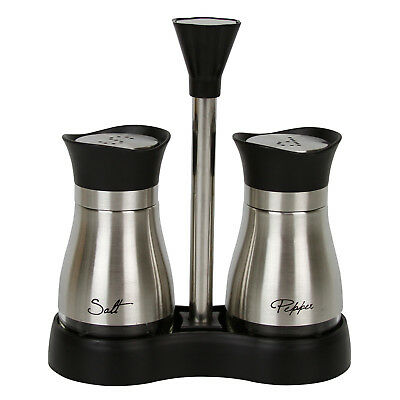 Evelyne Stainless Steel Salt & Pepper Shakers Set With Tray Glass Bottom Casing