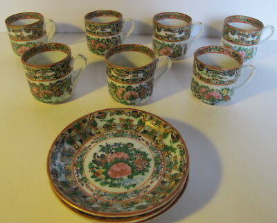 6 Antique Chinese Rose Medallion Tea Cups & 3 Saucers Demitasse Cups
