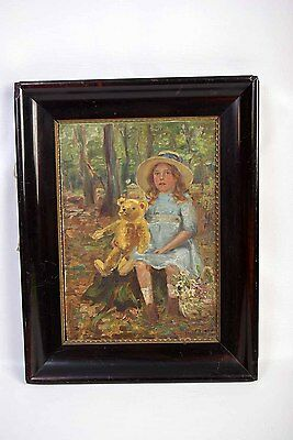 Antique Oil Painting, Girl with Teddy Bear, England 1913, B332  REDUCED!!!!