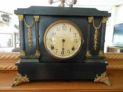 Mantle Clock - E. Ingraham 1885 Antique Black Adamantine With Marble Trim