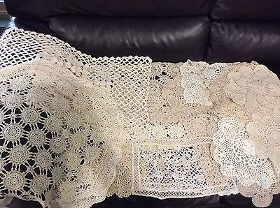 Vintage lot of 22 crochet lace Doilies