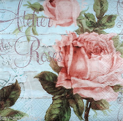 4 x Single Vintage Table Paper Napkins Craft Party //for Decoupage Roses M