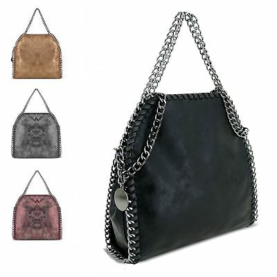 Ladies Faux Leather Chain Edge Shoulder Bag Stella Metallic Handbag GN60526A