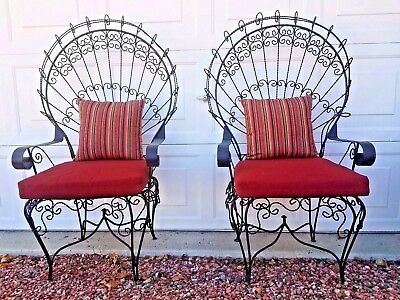 Set of 2 Vtg 1930s - PEACOCK - Iconic Twisted Scroll Wrought Iron Arm Chairs