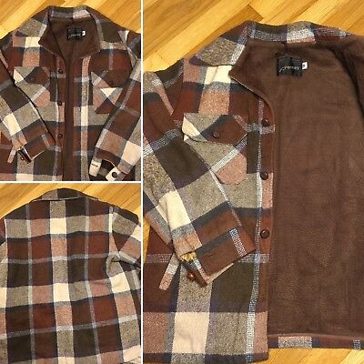 70s VTG JC PENNY THICK WOOL LINED FLANNEL JACKET COAT SHIRT PLAID 80s Hunting