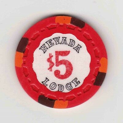 Vintage $5 chip from Nevada Lodge Casino (1970s) Lake Tahoe