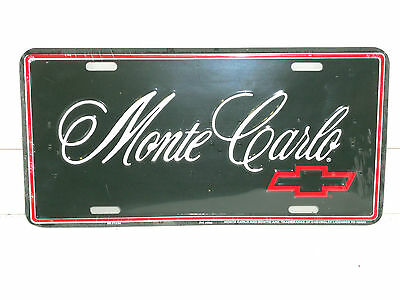 Monte Carlo Script Aluminum License Plate Made In Usa Red Bowtie Chevrolet Chevy