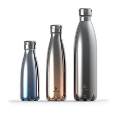 Manna Metallic Insulated Vogue Bottles, Silver/Copper/Blue, Set of 3
