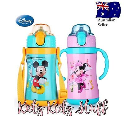 Disney Minnie Mouse Stainless Steel Kid Bottle Thermos With Straw, Handles/strap