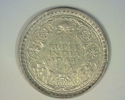India 1944-B Silver Quarter-Rupee Km547  About Uncirculated ~212753