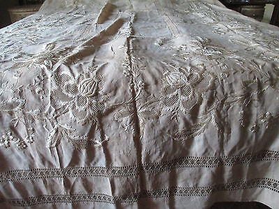 "Antique French Linen Hand Done Embrodery Banquet Tablecloth 149""x75+12 napkings"