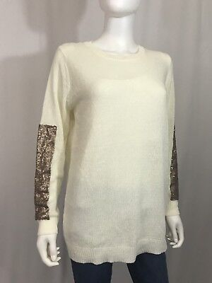 Pink Blush Maternity Women's Holiday Sweater Sequin Elbow Patch Ivory Gold S M