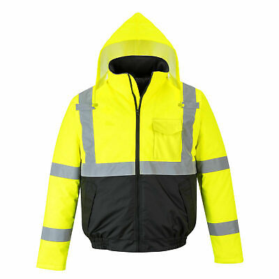 Hi-Vis Waterproof Yellow Bomber Jacket Quilt Lined, ANSI Class, Portwest US363