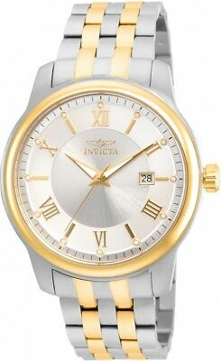 New Mens Invicta 23014 Vintage Silver Dial Two Tone Bracelet Watch