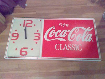 RARE Coke CLASSIC Huge Vintage 1980's  Coca Cola CLASSIC  lighted wall clock