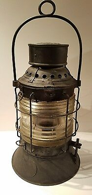 Adlake New York State Canal Lantern Antique Oil Lamp, Erie Canal Barge Lamp