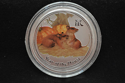 2008 1/2 oz Silver Coin Lunar Mouse Colorized Australia from Sealed Mint Roll