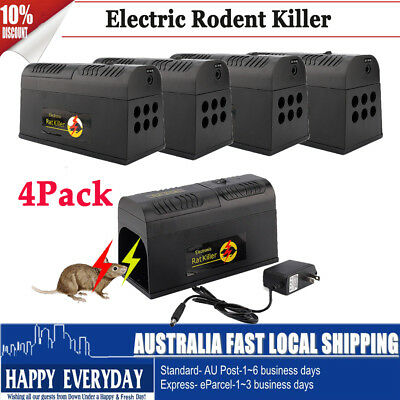 4X Electronic Rat Mousetrap Mouse Mice Rodent Animal Killer Zapper Pest Repeller