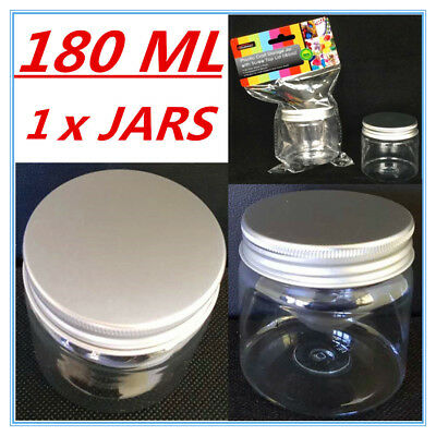 1 X Clear Plastic Screw Top Craft Project Storage Jars Jar Silver Lid 180Ml D