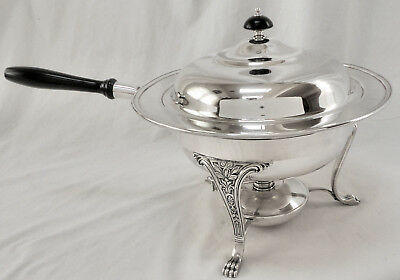 BEAUTIFUL! 4Pc Slv Plate Ftd Casserole Chafing Dish Pan Set wBurner Pot Unmarked