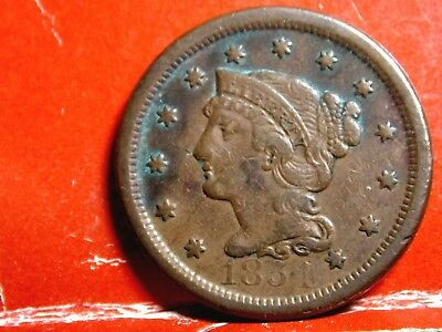1854 Braided Hair Early Copper Large Cent #3