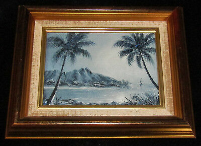 Hawaii ORIG PAINTING SIGNED Diamond Head in Moonlight Theresia Brinson 1991