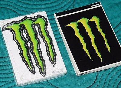 """10 Monster Energy Green 'M'Stickers 4"""" + 10 Monster black stickers"""