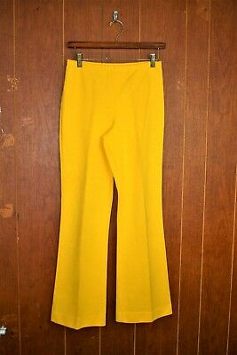 Vintage 70s Aileen Women's Size 12 Yellow Stretch Polyester Pull On Flare Pants
