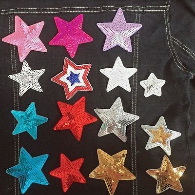 Sequin star iron on patch award Hollywood sky stars space spark iron-on patches