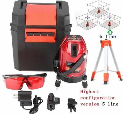 Auto 360° Self-Leveling best ver. 5Line Rotary Laser Level Measure Kit Tripod ^
