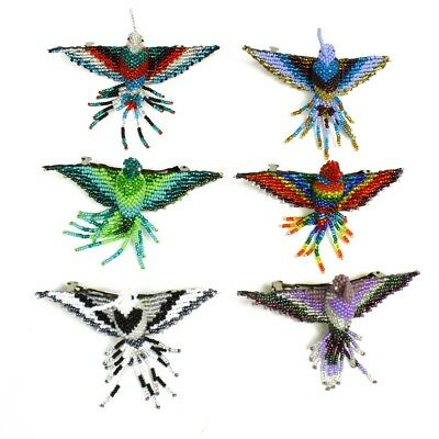 BA120 Hummingbird Artisan Glass Beads Hair Barrette Tie Clip Three Pack (3) Mix